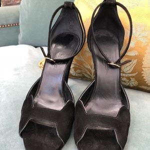 3a7d16a7e Black Suede Hermès Heels